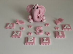 Elephant edible cake toppers personalised birthday christening sugar paste pink