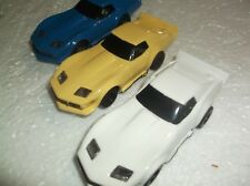 3- tyco slot cars chevy corvette stingray 440x2 chassis ho 1/64 afx scale