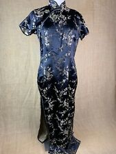 Vintage Custom 100% Silk Black Traditional Chinese Evening Dress Gown Cheongsam