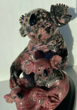 RARE VINTAGE CARVED SIGNED  RHODONITE KOALA BEAR AND 2 BABIES SCULPTURE STATUE