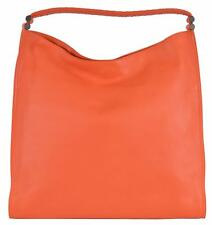 NEW Bottega Veneta 324035 Orange Leather Woven Strap Large Purse Handbag Hobo