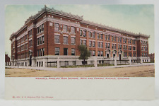 Postcard Wendell Phillips High Scool 39th and Prairie Avenue Chicago Illi US