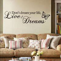 Quote Word Decal Vinyl DIY Home Room Decor Removable Art Wall Stickers Bedroom