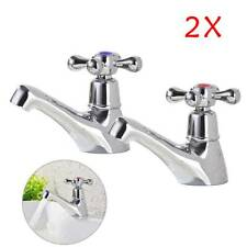 2X Taps Twin Traditional Bath Bathroom Basin Sink Chrome Hot and Cold Tap System