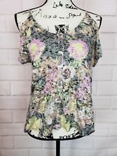Kimchi Blue Women's Cold Shoulder Short Sleeve Floral Blouse Top Size Small