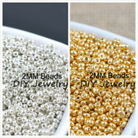 1000pcs 16g 2mm Gold Silver Tone Round Czech Glass Seed Beads DIY Jewelry Making