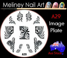 A29 Stamping Nail Art Image Plate Design Round XL Stencil metal