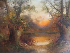 Antique Tonalist Oil Circa 1900 Lakeland Sunrise by Henry Cooper Scotland Wales