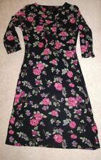 AMARI SIZE 1 UK 10 PRETTY BLACK DRESS WITH ROSE PRINT 3/4 SLEEVE STRETCHY FABRIC