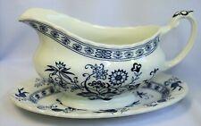 Classic J&G Meakin Blue Nordic Blue Onion Gravy Bowl & Underplate England