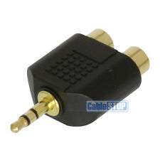 MINI stereo per cuffie 3,5 mm Jack Spina a Twin 2 RCA PHONO SOCKET Adattatore Audio