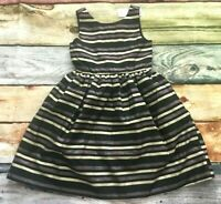 Gymboree 4 5 6 7 8 10 Holiday Portrait Stripe Silver Gold Black Dress NWT Outlet