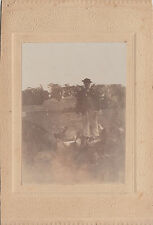 Mounted photograph of a country bumpkin with pig & chickens