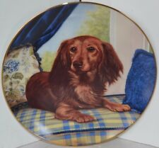 Vintage Dachshunds Wiener Dog Christopher Nick Collector Plate Window Seat
