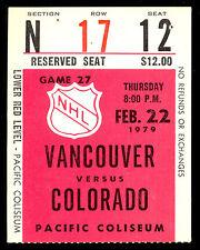 1979 FEB 22 NHL HOCKEY TICKET STUB VANCOUVER CANUCKS VS COLORADO ROCKIES