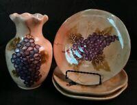 Cabernet Hand Painted Collection  Unlimited Vase Jar/ salad plate  Grapes Design