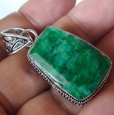BIG! NATURAL PRINCESS VICTORIAN STYLE EMERALD 100.0 ct PENDANT 925 S.SILVER