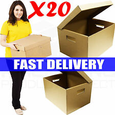 20 x STRONG A4 FILING ARCHIVE STORAGE CARDBOARD BOXES WITH HANDLE/BOXES