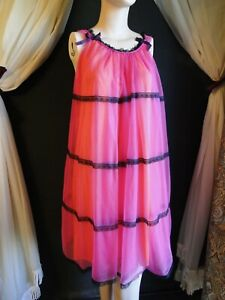 Vintage bright pink chiffon over orange nylon nightgown/nighty ~ black lace trim