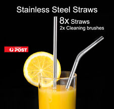 8 Stainless Steel Straws Metal Drinking Straw Reusable Washable+2 brushes AU