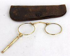 Vintage Antique Optiker Peschke Solid 585 14k Gold Folding Opera Eye Glasses