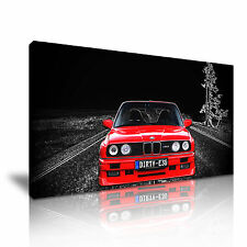 Red BMW Classic Car Modern Canvas Wall Art Picture Print 60x30cm / 24x12 inch