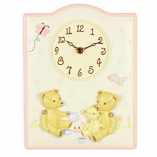 Baby`s Nursery Wall Clock Bears with Bird and Butterfly  NEW
