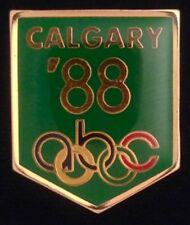 abc Olympic Media Pin Badge ~ 1988 ~ Calgary ~Green~ New in original packaging!!