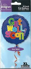 """Get Well Soon 18"""" Mylar Foil Balloon Blue Bright Checkerboard NEW"""