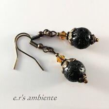 Ohrringe mit LAVERSTEIN-Perlen, Bronze-Vintage-Look, Ohrhänger, 0346