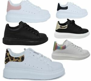 womens Lace Up Trainer Casual Sneakers Ladies Platform Flat Shoes