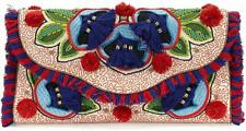 TORY BURCH embroidered floral flap clutch Women's $349 BAG HANDBAG NEW AUTHENTIC