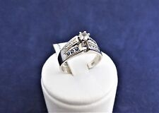 SOLID STERLING SILVER RING-centre 1X3.45mm cz, 6x1.5mm sapph & 6x1.25mm cz 3.0gr