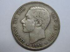 1883 * 18-83 ALFONSO XII 1 PESETA SPAIN SPANISH SILVER COIN