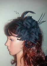Black Gothic fascinator with pearls flower and feathers on a hair clip.
