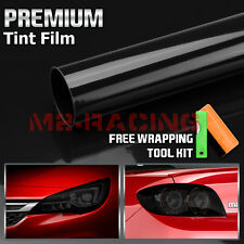 "12""x48"" Gloss Dark Black Smoke Headlight Taillight Fog Light Tint Film Vinyl"