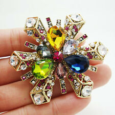 Gold-plated Classic Snowflake Flower Pendant Brooch Colorful Rhinestone Crystal