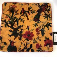 Boho Velvet Pillow Cover Floral Birds 16 Inch Square New with Tags