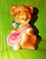 "Vintage Rare Royal Copley Teddy Bear with Mandolin Planter Vase About 6"" Tall"