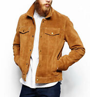Men's Brown Suede Leather Jacket Slim fit Biker Motorcycle Jacket