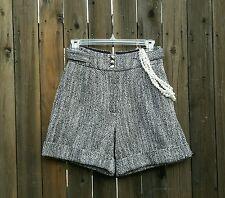 BCBG MOD Tweed High Waisted Shorts Retro Style Cuffed 80s Looking Short Waist 25