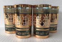 Vintage Kyongnam Glass Tumblers (4) Blue Gold Gilt  Mid Century Korea