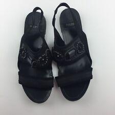 e202ba4bf78 Zara Basic Collection 37 US 7 Black Jeweled Leather Sling Back sandals Flat  Shoe