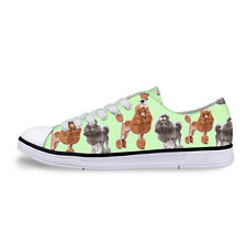 Cute Poodle Print Women Canvas Shoes Flat Walking Plimsolls Girls Casual Pumps