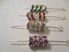 100 Silver Plated 7 & 8 mm Crystal Green Red, Clear Purple Spacer Beads  MS7