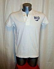 Men's HOLLISTER s/s white cotton embro grandad collar polo shirt sz S great co