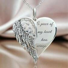 """Fashion Women Charm Angel Pendant Necklace with """"A Piece of My Heart Has Wings"""""""