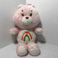 "Plush Cheer Pink Rainbow Care Bear 13"" Toy Kenner 1983 Vintage"