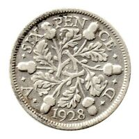 KM# 832 - Sixpence - 6d - Silver (.500) - George V - Great Britain 1928 (Fair)