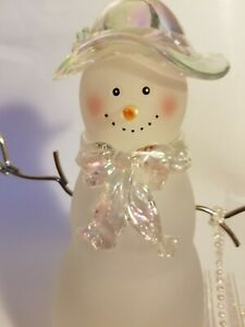 Vintage Glass Snow Woman Figurine Statue with Hat and Purse with Metal Stick Arm
